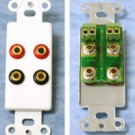 Decorative 2-Pair Low Profile Banana Jack Wall Plate Insert - White