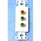 Decorative Red/Green/Blue Component Video Wall Plate Insert - White