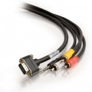 15ft CMG-Rated HD15 SXGA + Composite Video + Stereo Audio + 3.5mm M/M Cable with Rounded Low Profile Connectors