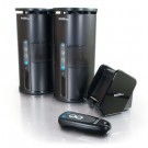 Premium 900MHz Wireless Indoor/Outdoor Speakers with Remote and Dual Power Transmitter, Black